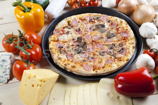 Pizza gustoso naturale alimentare foglia olio Foto d'archivio © JanPietruszka