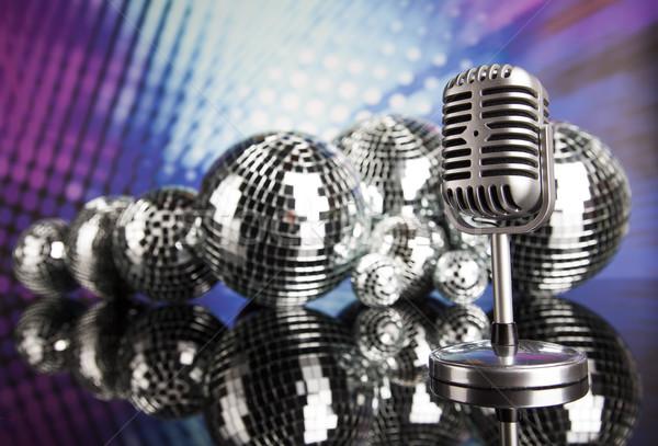 Stock fotó: Diszkógömb · mikrofon · zene · retró · stílus · hang · hullámok