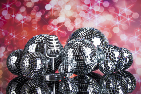 Music background, microphone and Disco Balls  Stock photo © JanPietruszka