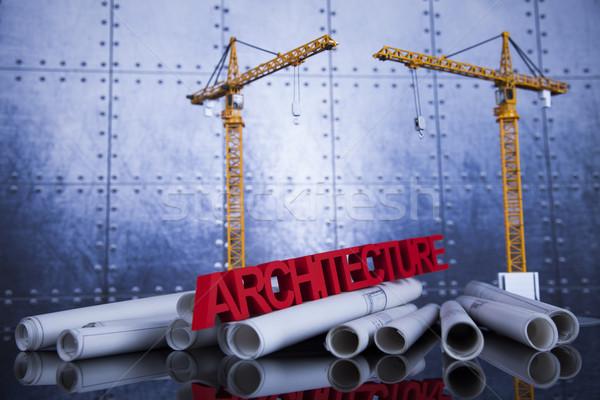 Construção plano guindaste amarelo capacete edifícios Foto stock © JanPietruszka