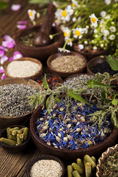 Természetes gyógyszer fa asztal természetes gyógymódok természet szépség Stock fotó © JanPietruszka