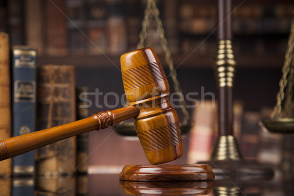 Law and justice concept, Brown wooden background, beautiful refl Stock photo © JanPietruszka