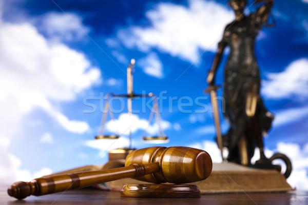 Bíró kalapács fa törvény ügyvéd fehér Stock fotó © JanPietruszka