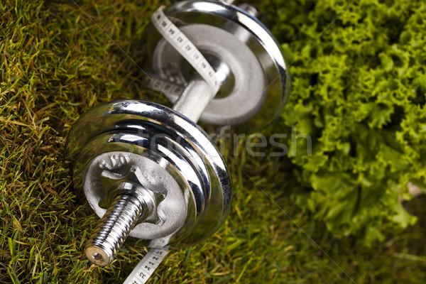 Foto stock: Grama · verde · fitness · saúde · músculo · gordura · fresco