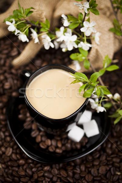 Tradizionale tazza di caffè fagioli texture alimentare frame Foto d'archivio © JanPietruszka