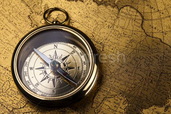 Kompas papier kaart achtergrond reizen Stockfoto © JanPietruszka