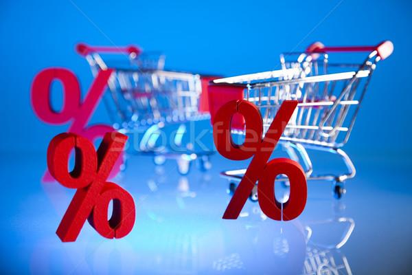 Shopping supermarket cart, percent sign Stock photo © JanPietruszka