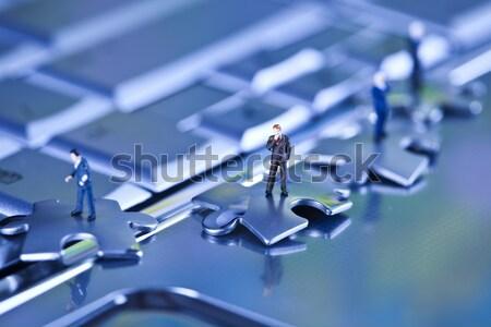 бизнеса современных сеть бизнесмен головоломки Сток-фото © JanPietruszka