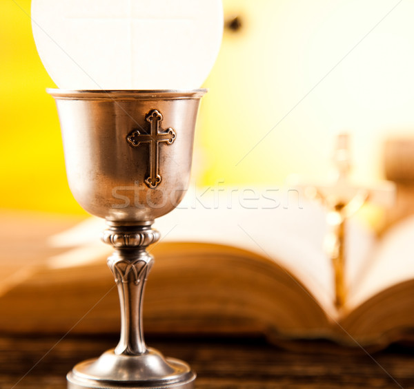 Stock photo: Sacrament of communion, bright background, saturated concept