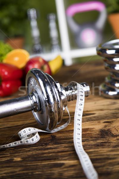Diéta fitnessz súlyzó vitamin test gyümölcs Stock fotó © JanPietruszka