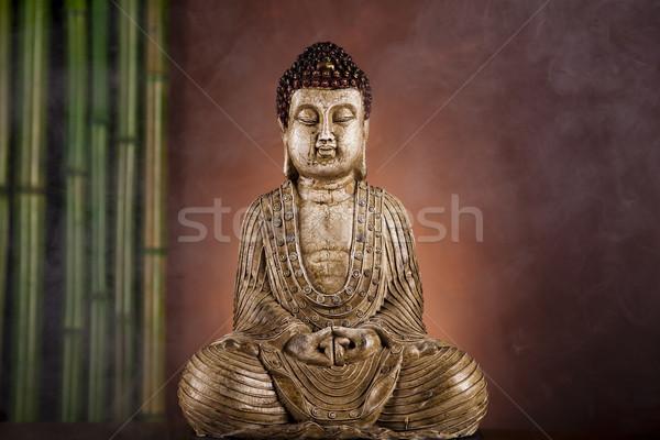 Photo stock: Buddha · statue · bambou · soleil · fumée · détendre