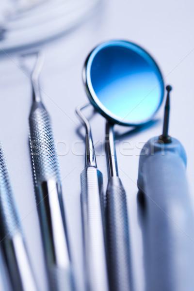Tandheelkunde tandheelkundige tools geneeskunde spiegel tool Stockfoto © JanPietruszka