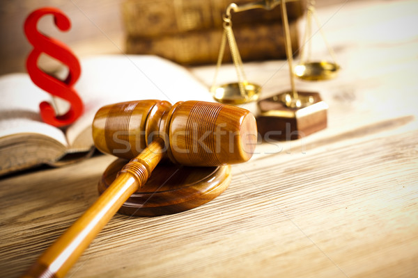 Judges wooden gavel and paragraph Stock photo © JanPietruszka