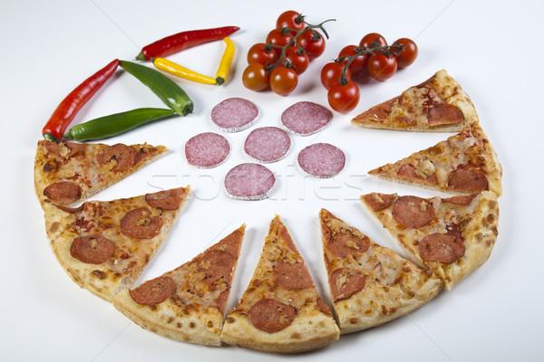 Pizza smakelijk natuurlijke voedsel blad olie Stockfoto © JanPietruszka