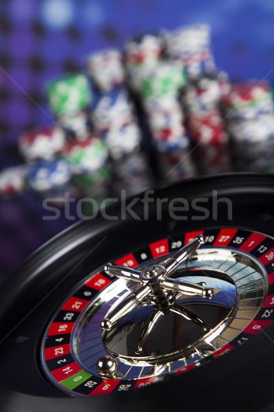 Rulett asztal kaszinó póker zsetonok számítógépes játékok jókedv Stock fotó © JanPietruszka