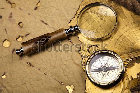 Stock fotó: öreg · stílus · iránytű · papír · térkép · háttér