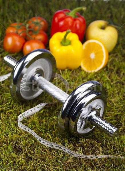 Foto stock: Fitness · comida · grama · verde · saúde · exercer · energia