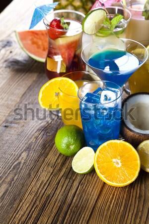 Cocktails, alcohol drinks with fruits Stock photo © JanPietruszka