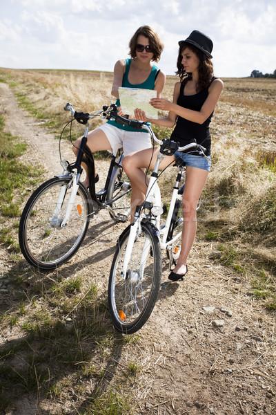 女性 自転車 夏 自由時間 少女 道路 ストックフォト © JanPietruszka