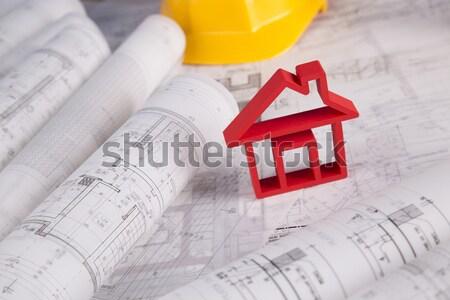 Védősisak tervrajzok ház építkezés sisak papír Stock fotó © JanPietruszka
