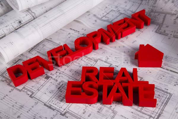 недвижимости агентство чертежи дома модель бизнеса Сток-фото © JanPietruszka