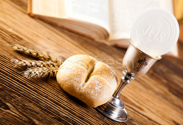 Stock photo: Holy Communion Bread, Wine, bright background, saturated concept