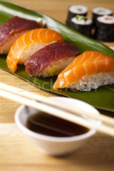 Сток-фото: коллекция · суши · рыбы · морем · ресторан · Азии