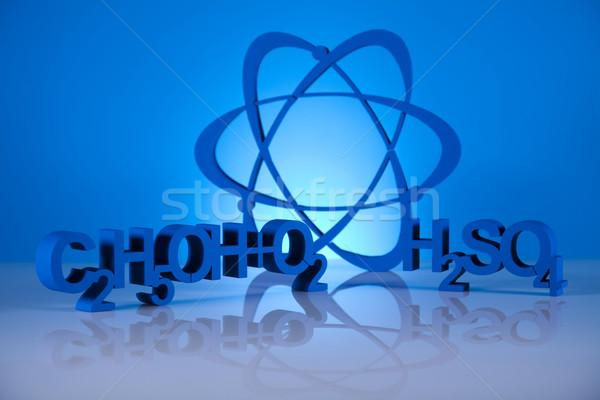 Atom molekulák modell laboratórium üvegáru víz Stock fotó © JanPietruszka