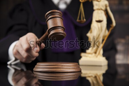 ストックフォト: 裁判官 · 法 · 正義 · ハンマー · 裁判所 · 法的