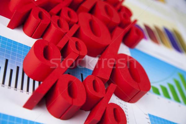 Percentagem naturalismo colorido assinar vermelho financiar Foto stock © JanPietruszka