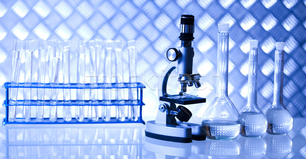 Foto stock: Laboratório · artigos · de · vidro · equipamento · experimental · planta · médico
