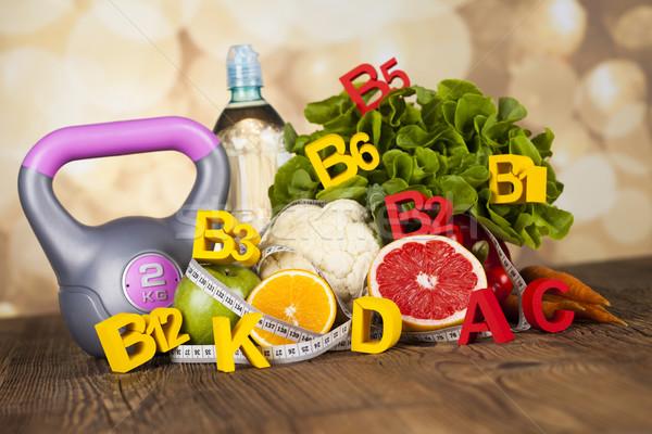 Fitness witamina świeże owoce warzyw zdrowia sportu Zdjęcia stock © JanPietruszka