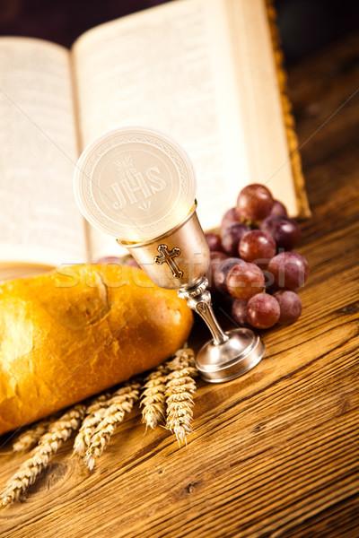 Heilig communie brood wijn heldere jesus Stockfoto © JanPietruszka