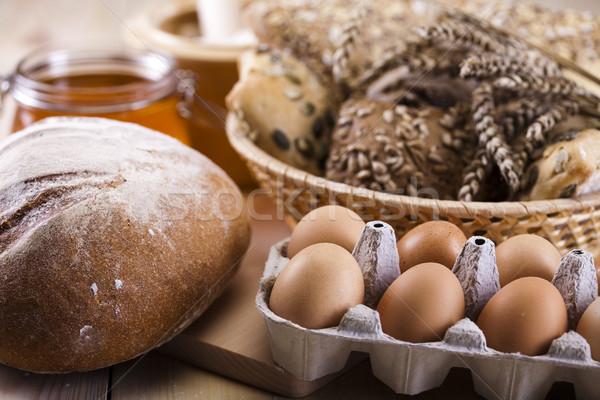 Brood landelijk voedsel diner eieren Stockfoto © JanPietruszka