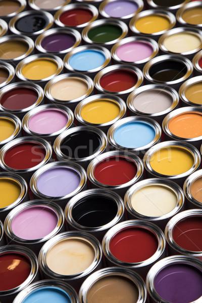 Buckets full of rainbow colored oil paint Stock photo © JanPietruszka