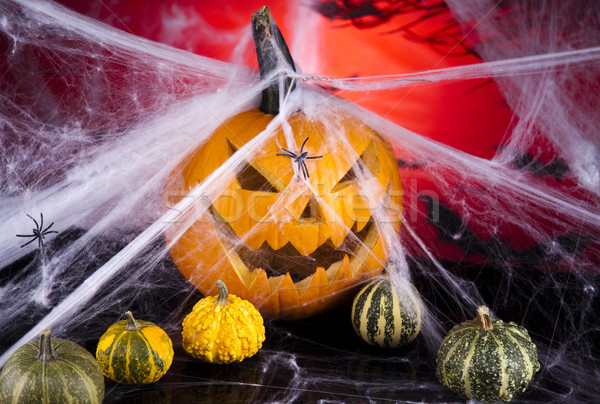Spider web, Halloween pumpkin Jack Stock photo © JanPietruszka