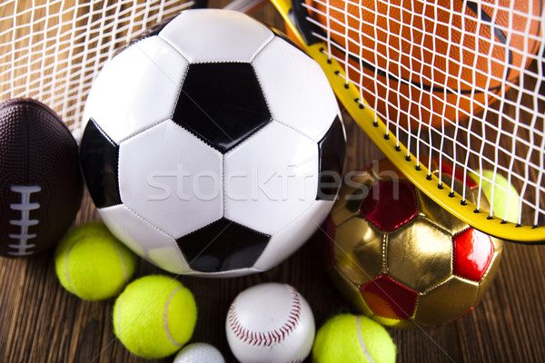 Groupe équipements sportifs football sport tennis baseball Photo stock © JanPietruszka