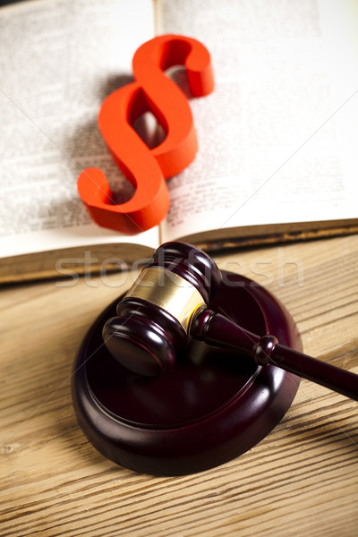 Judge wooden gavel and paragraph Stock photo © JanPietruszka