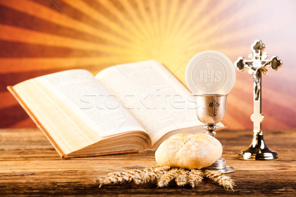 Stock photo: Communion wafer, bright background, saturated concept