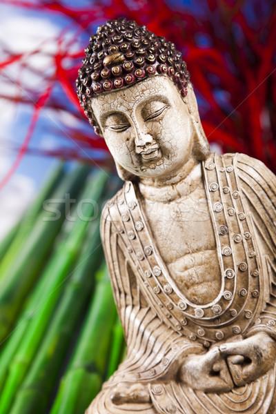 Still life buddha statue bambou soleil fumée Photo stock © JanPietruszka