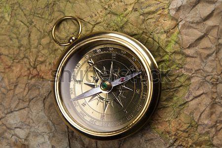 Bussola vecchia mappa carta mappa sfondo viaggio Foto d'archivio © JanPietruszka