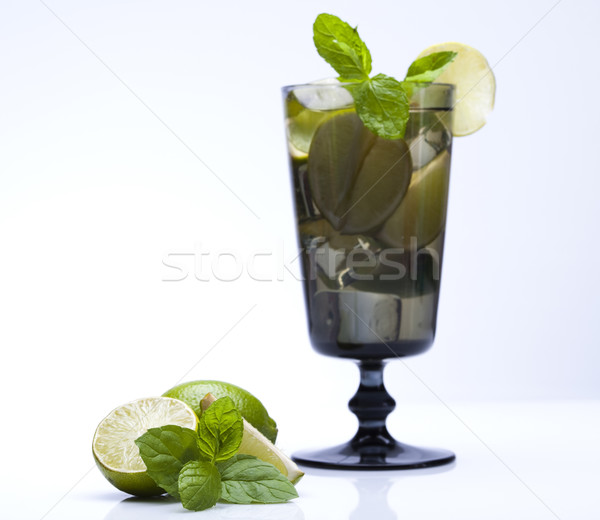 Vers mojito drinken blad vruchten golven Stockfoto © JanPietruszka