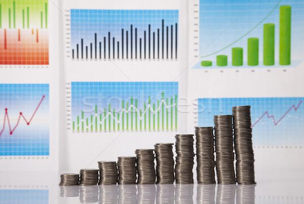 Stock fotó: Emelkedő · érme · diagram · pénz · bár · siker