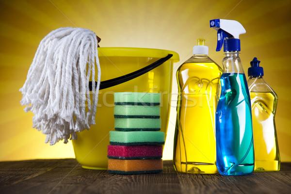 Reinigingsproducten zonneschijn werk home fles dienst Stockfoto © JanPietruszka