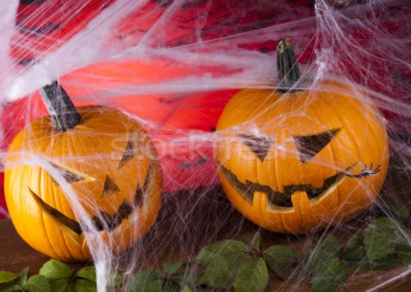 Pókháló halloween tök szemek háttér narancs űr Stock fotó © JanPietruszka