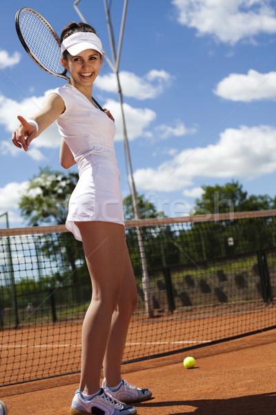 Foto stock: Mulher · jovem · jogar · tênis · naturalismo · colorido · mulher