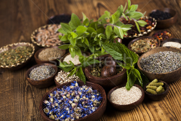Herbs medicine and vintage wooden background Stock photo © JanPietruszka