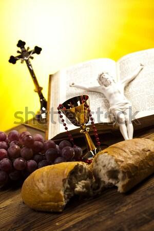 Elsőáldozás fényes könyv Jézus templom Biblia Stock fotó © JanPietruszka