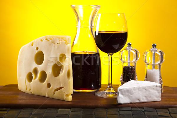 赤ワイン チーズ 農村 食品 ガラス 夏 ストックフォト © JanPietruszka