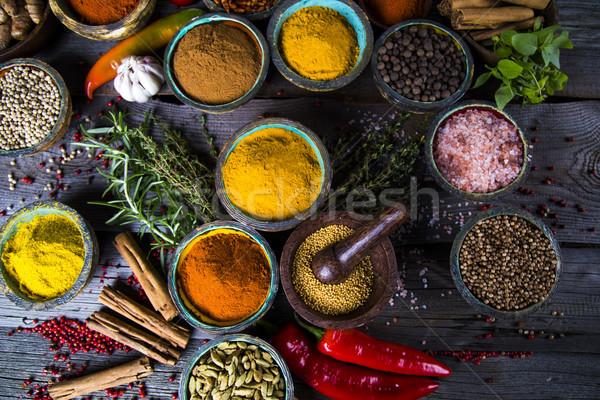 Stockfoto: Specerijen · kruiden · houten · kom · kommen · voedsel